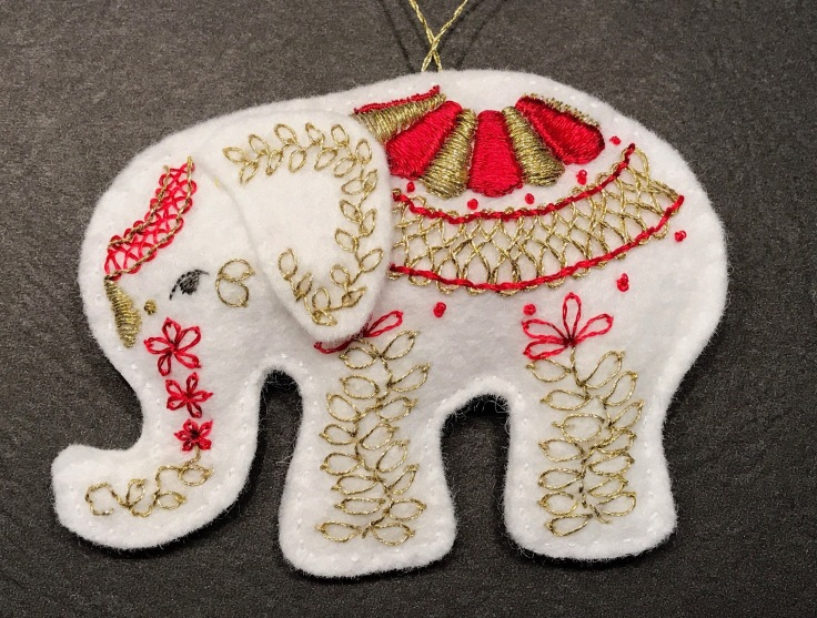 white_elephant_embroidered_wool_felt_ornament_red_gold