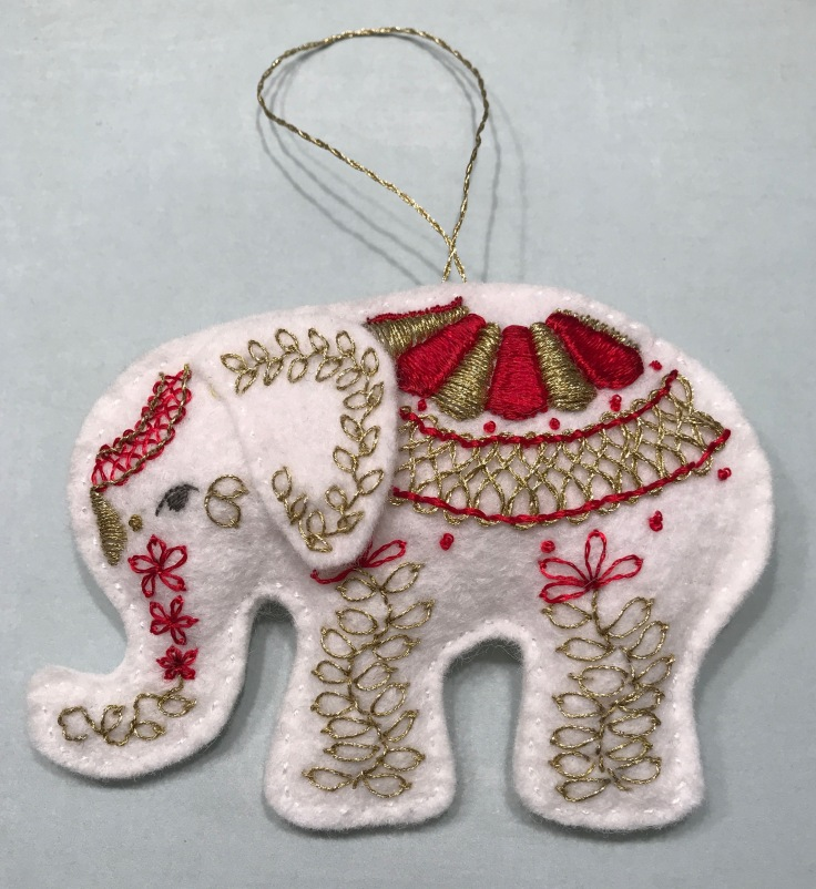 white_elephant_embroidered_wool_felt_ornament_red_gold_2
