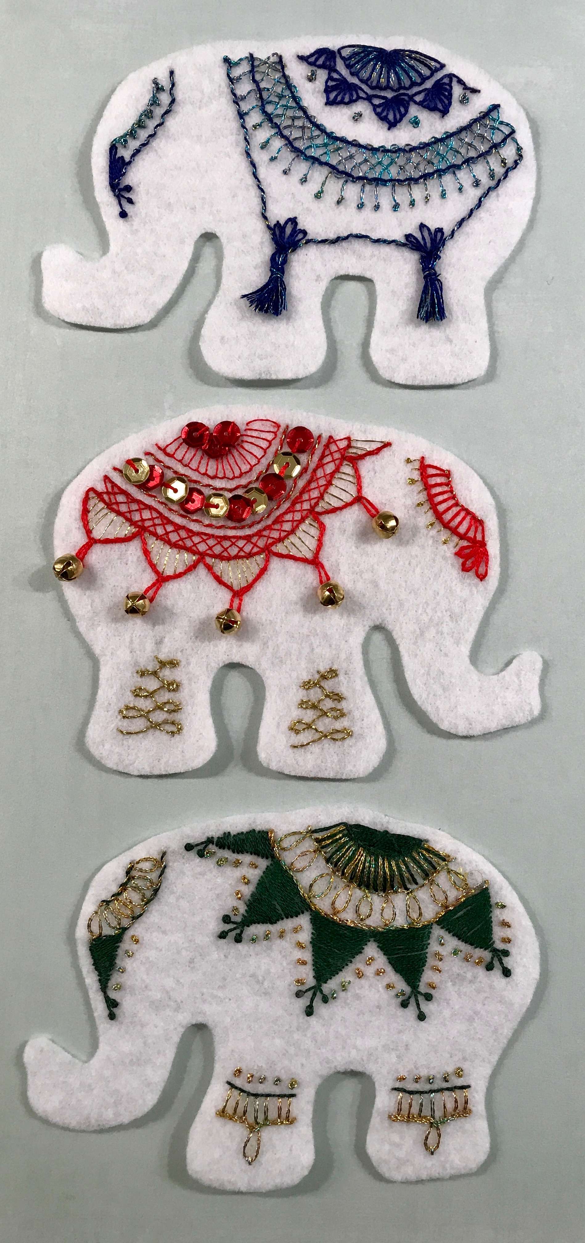 White Elephant Felt Ornament Embroidery