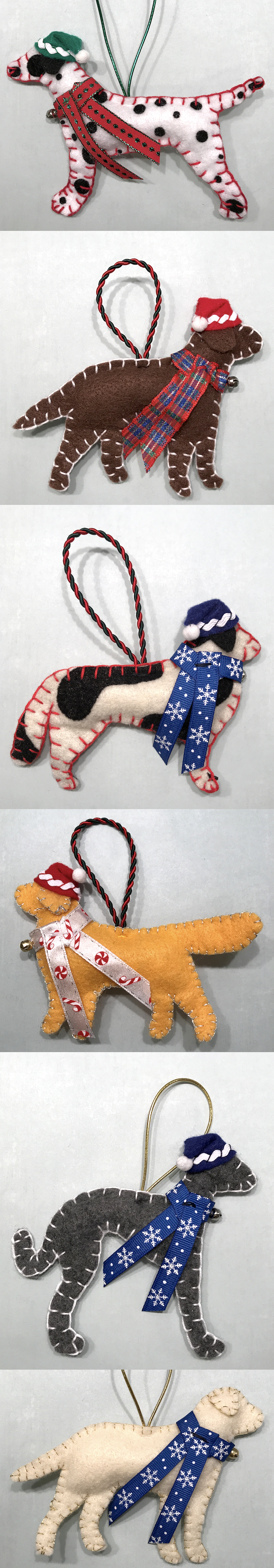 Handmade Felt Dog Ornaments for the Holidays